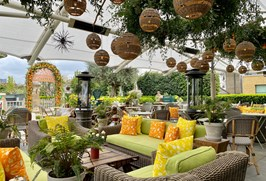 Ham Yard Roof Terrace Zestival Pop Up with Sipsmith - orange and lemon inspired with citrus arch in the background