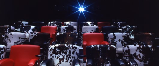 The screening room at Soho Hotel.  Cinema style red leather chairs are interspersed with black and white cowhide chairs. In the background is a projector pointing towards the screen.