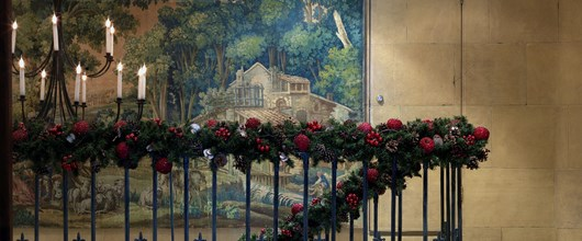 A Christmas Garland on a banister