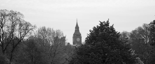 Black and white shot of Big Ben from St James's Park.